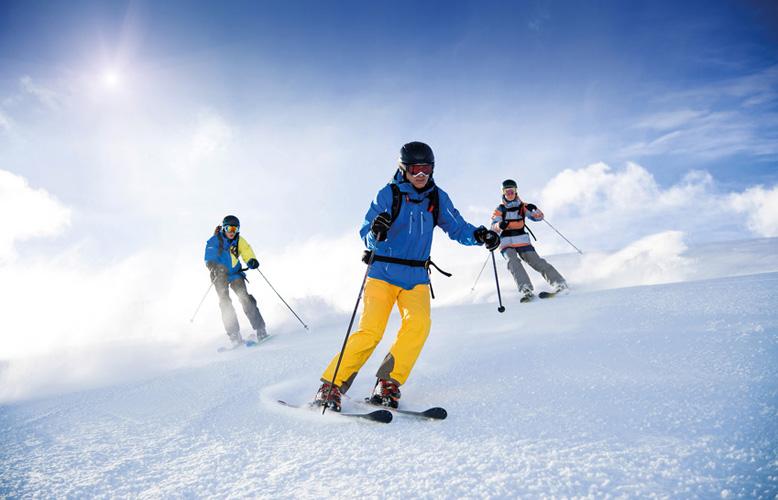 Drei Skifahrer