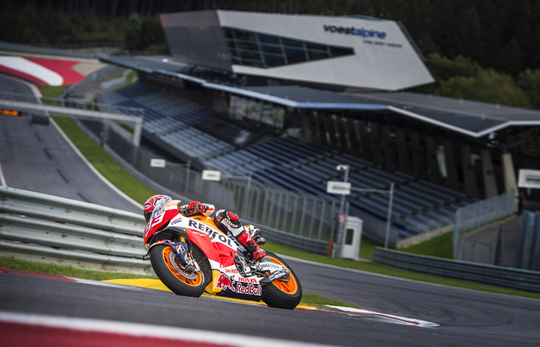 Marc Marquez races during a Media Day at the Red Bull Ring in Spielberg, Austria on September 8, 2015.