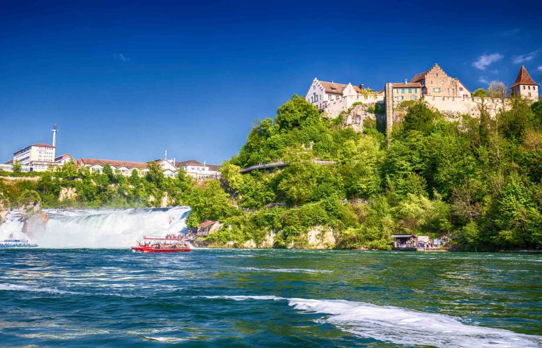 View to Rhine falls (Rheinfalls), the largest plain waterfall in Europe.  It is located near the town of Schaffhausen in northern Switzerland, between the cantons of Schaffhausen and Z�
