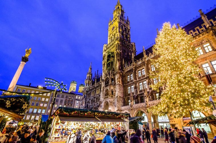 MUNICH, GERMANY - DECEMBER 18: people and sales booth at the christmas market on December 18, 2017 in Munich, Germany
