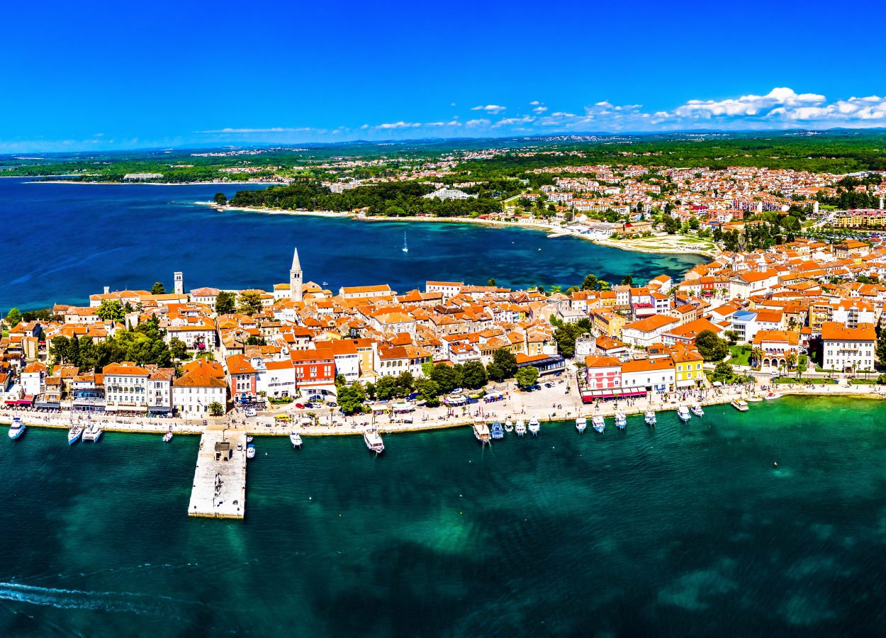 Aerial view of the old town of Porec on a peninsula in Croatia