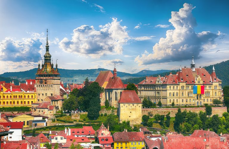 Panoramic summer view over the medieval cityscape architecture in Sighisoara town, historical region of Transylvania, Romania, Europe