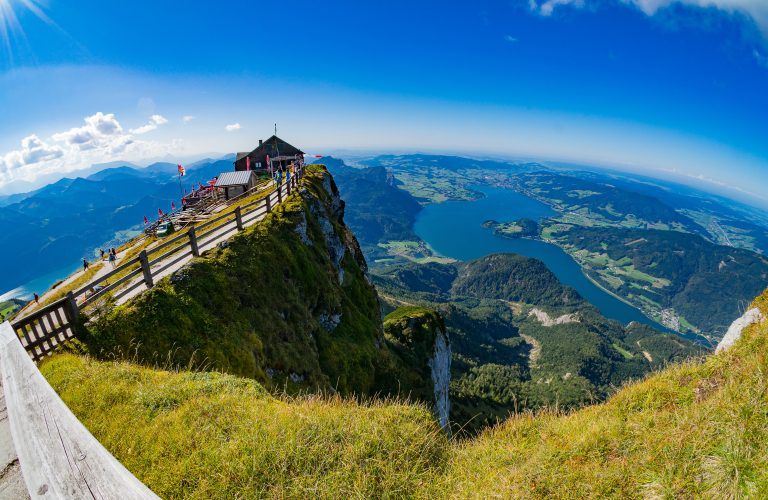 Fish eye view from Schafberg peak to Mondsee lake, Austria