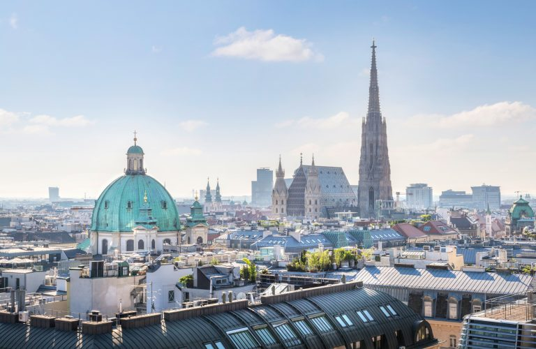 View over Vienna Skyline with St. Stephen's Cathedral at morning